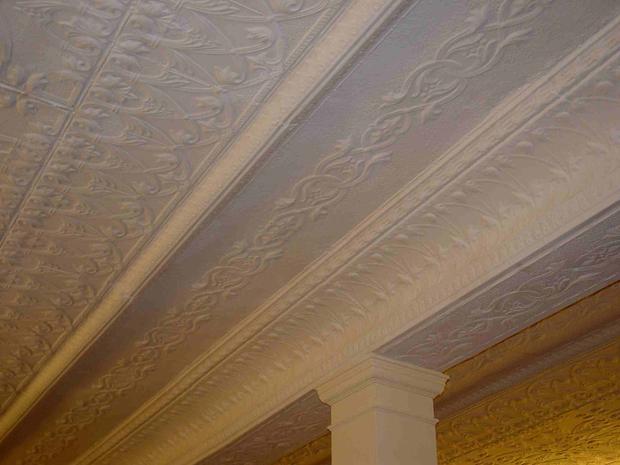 elaborate, opriginal tin ceiling in the st petersburg mercantile at 114 n. main in hannibal mo